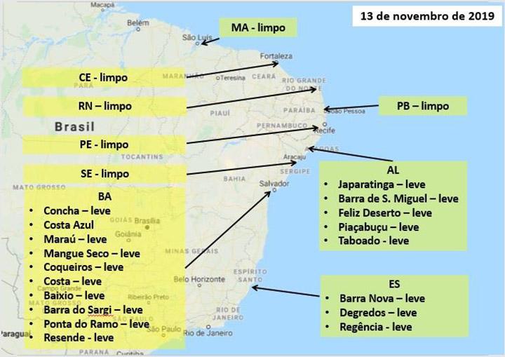 Marinha do Brasil, Petrobras e IBAMA colocam 34 navios para limpar as praias do nordeste