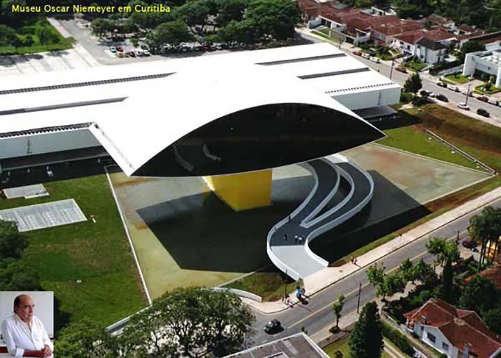 Museu Oscar Niemayer, em Curitiba, atrai milhares de turistas. Foto aerea, Jornalista Moreira.