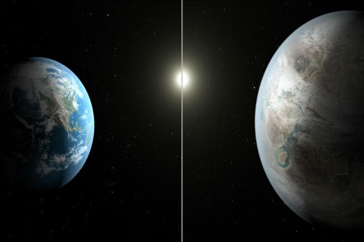 Visão da NASA para os planetas Terra e Kepler-452b. Semelhanças são intrigantes e há outros 5 iguais