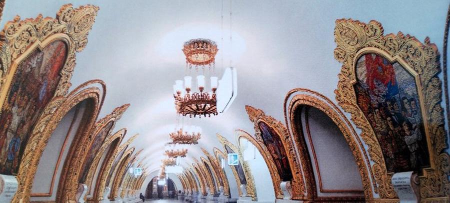 No metrô de Moscou as obras de arte para mostrar ao povo a riqueza dos palacios